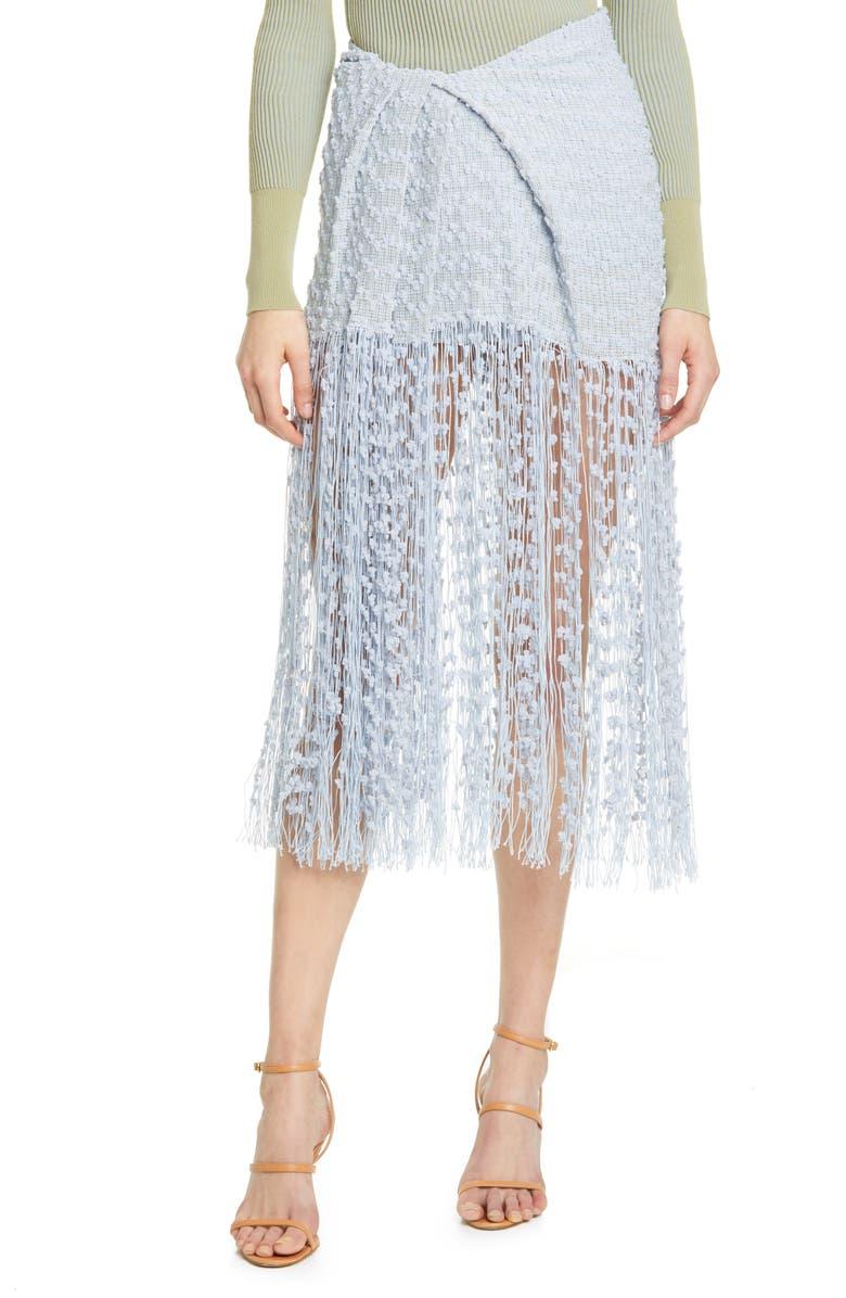 JACQUEMUS Capri Fringe Skirt, Main, color, LIGHT BLUE