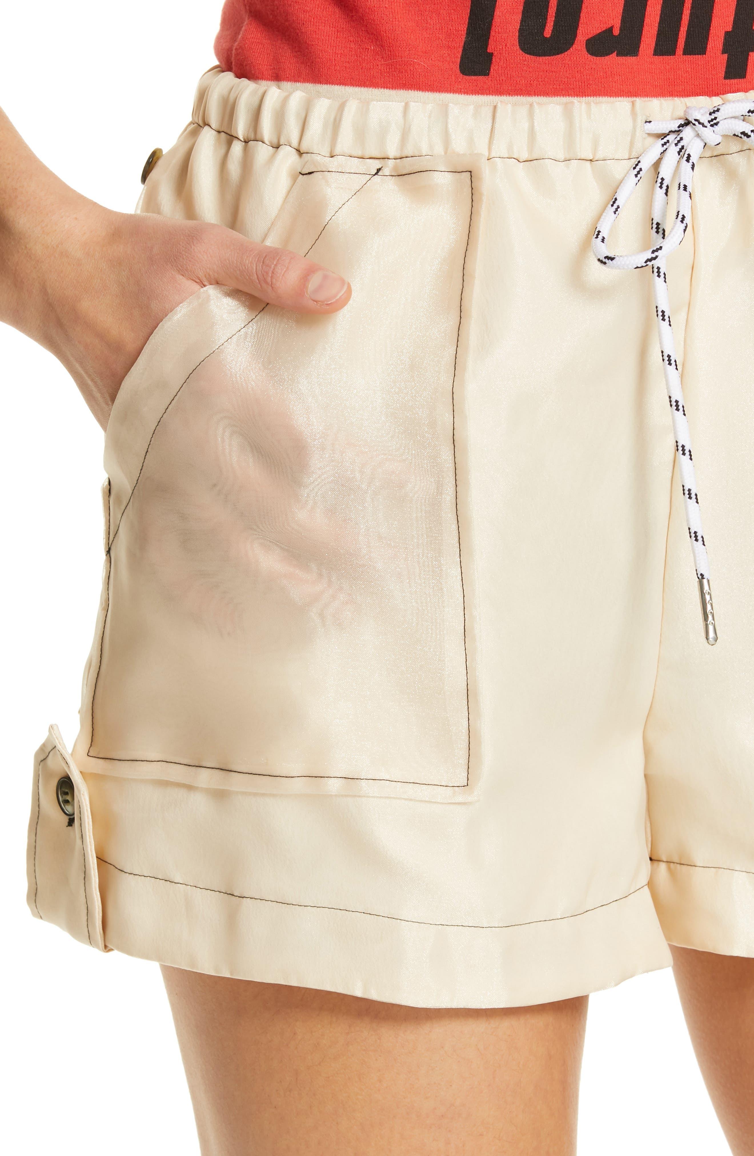 ,                             Solid Organza Shorts,                             Alternate thumbnail 4, color,                             TAPIOCA