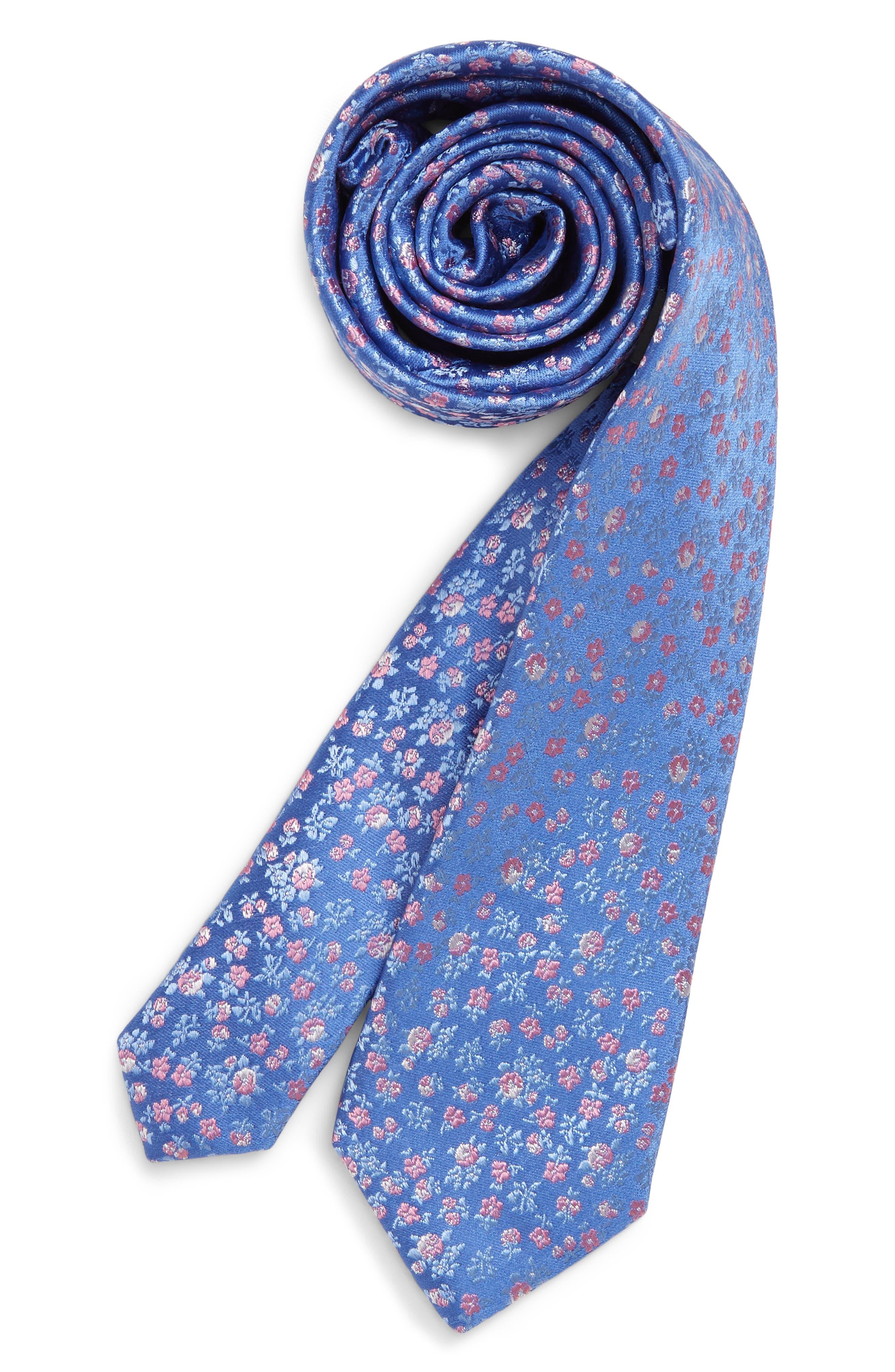 Boys Nordstrom Daniel Floral Print Silk Tie Size Big Boy  Blue
