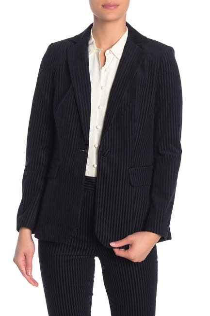 Image of FRAME Velvet Textured Stripe Blazer