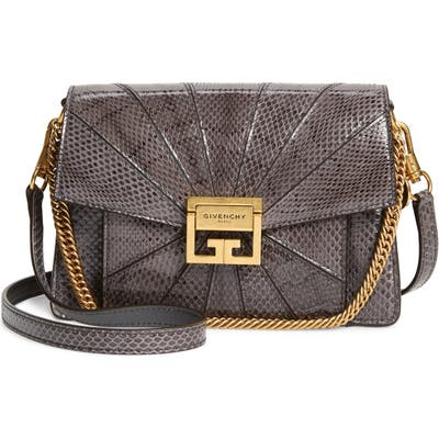 Givenchy Small Gv3 Patchwork Snakeskin Crossbody Bag - Grey