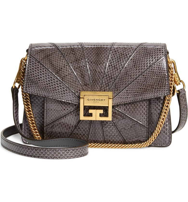 GIVENCHY Small Gv3 Patchwork Snakeskin Crossbody Bag, Main, color, STORM GREY