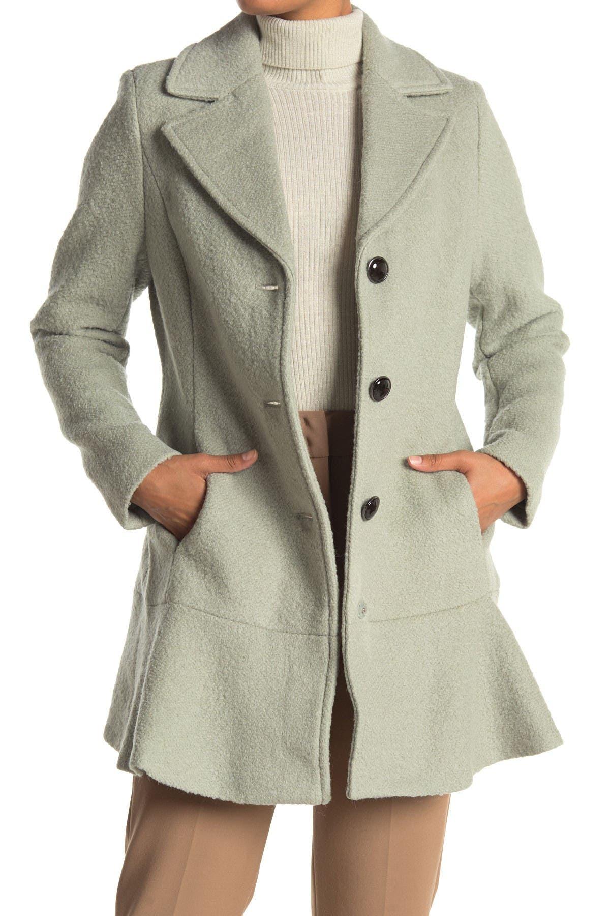 Image of Kensie Wool Blend Flutter Hem Coat