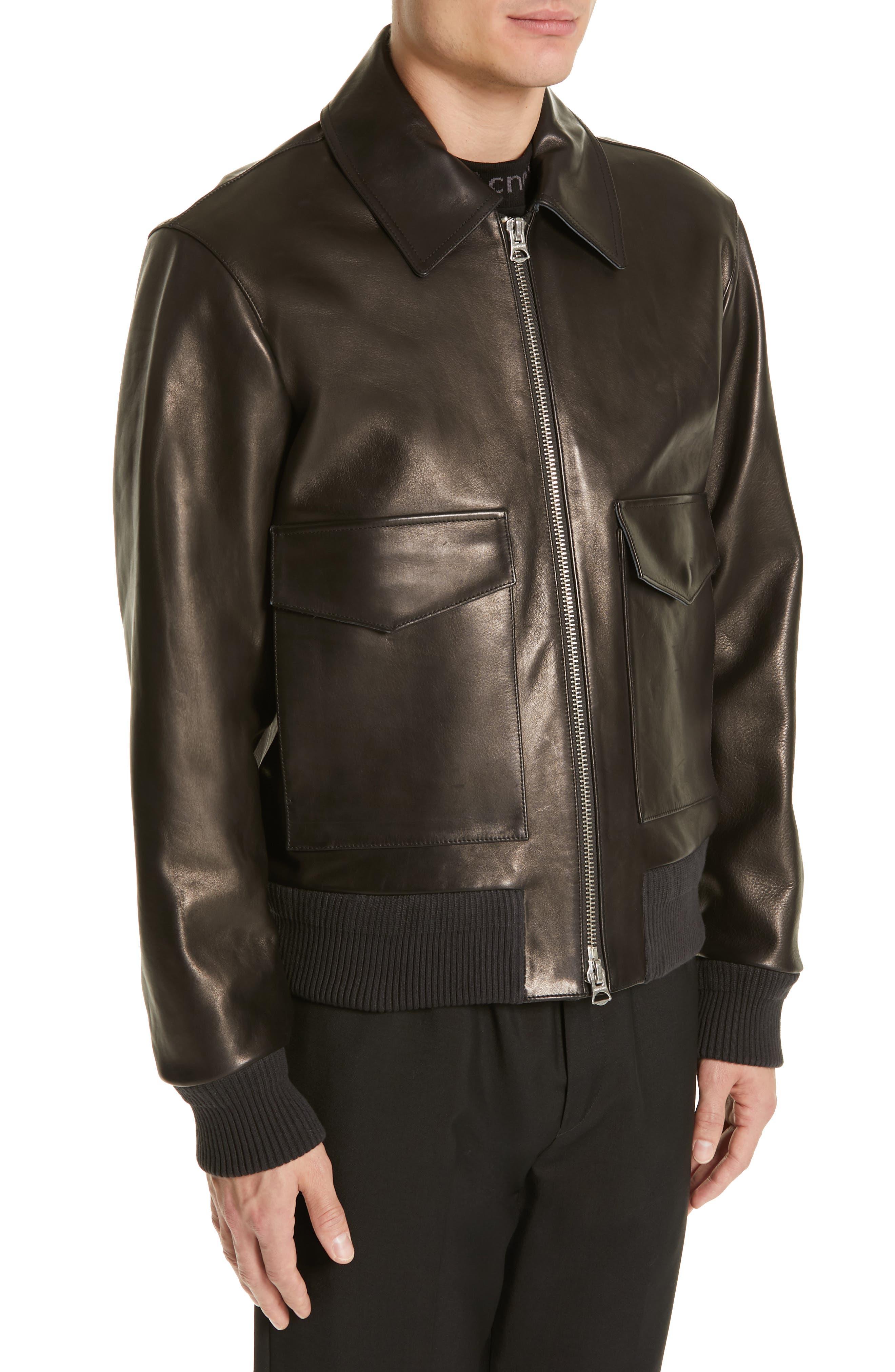 ,                             Lazlo Leather Bomber Jacket,                             Alternate thumbnail 4, color,                             BLACK