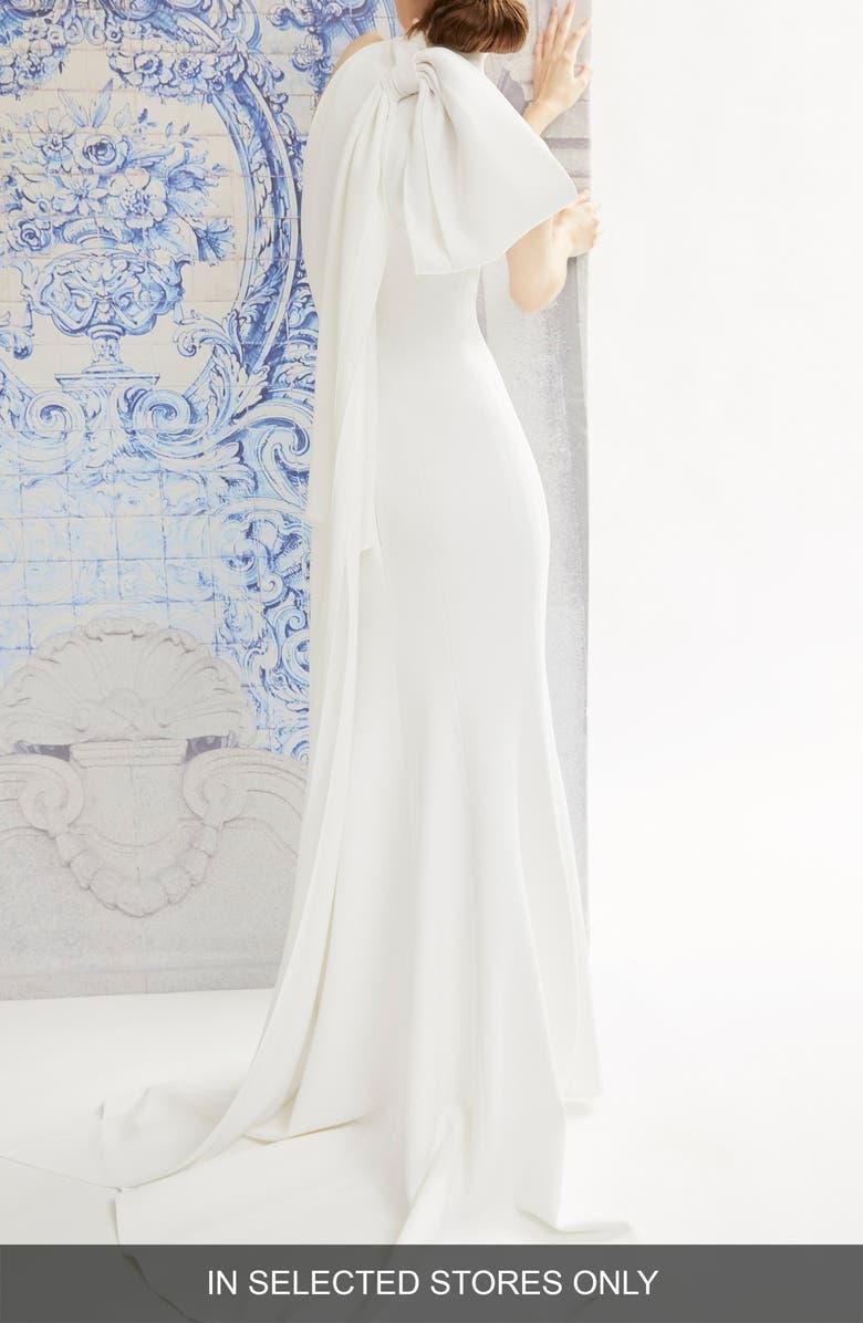 CAROLINA HERRERA Iris Bow Back Detail Halter Wedding Dress, Main, color, WHITE