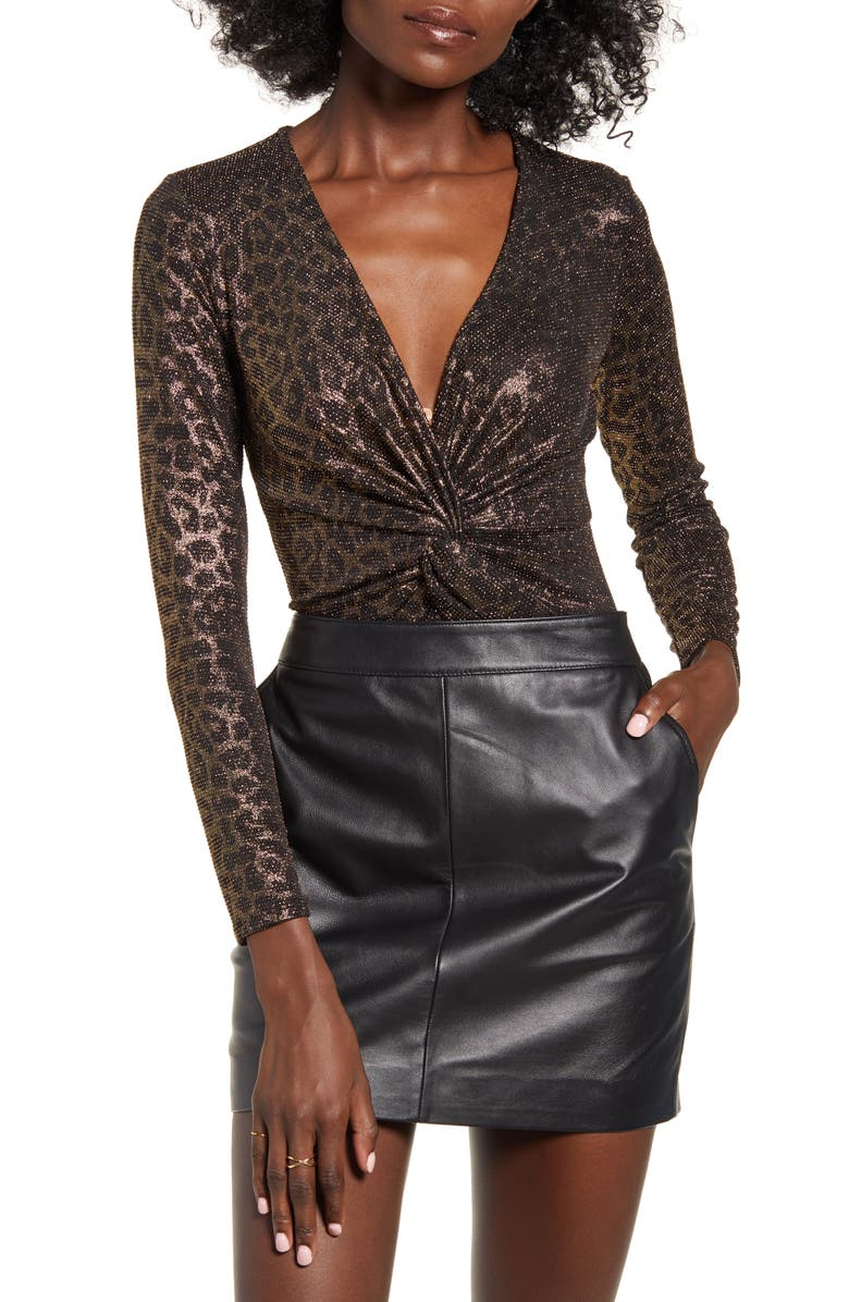 LEITH Twist Front Leopard Bodysuit, Main, color, GOLD BLACK LEOPARD