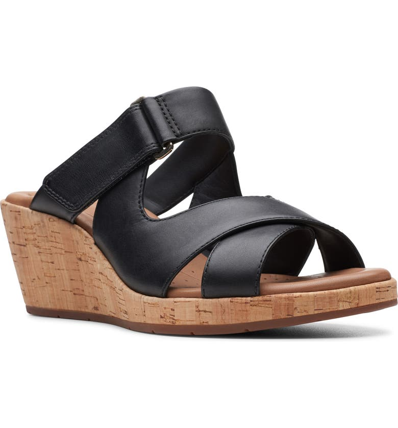 CLARKS<SUP>®</SUP> Un Plaza Slide Sandal, Main, color, BLACK LEATHER