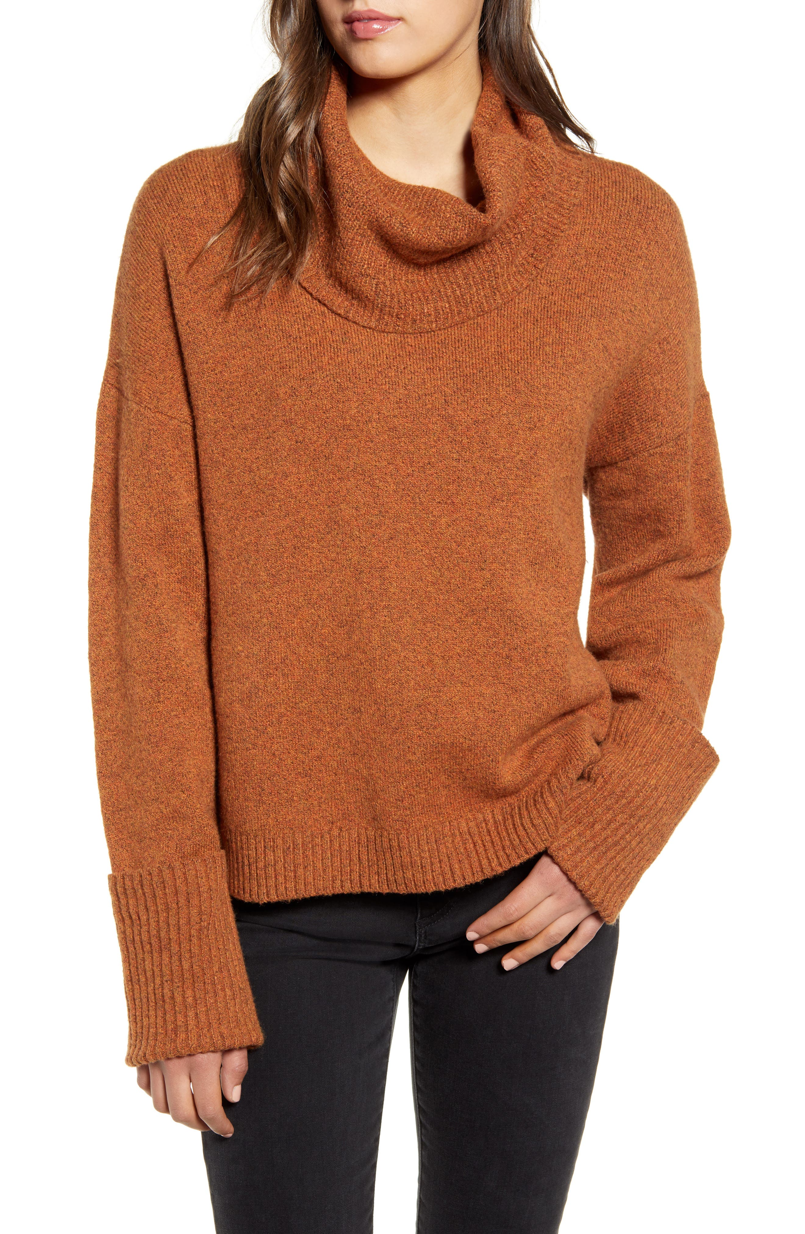 A slouchy cowl neck adds to the coziness of a soft sweater featuring lengthy long sleeves with ribbed cuffs. Style Name: Chelsea28 Cowl Neck Sweater. Style Number: 5797099. Available in stores.