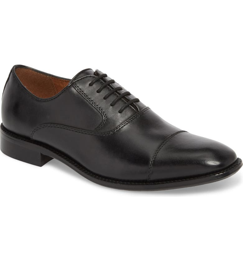 KENNETH COLE NEW YORK Dice Cap Toe Oxford, Main, color, BLACK LEATHER
