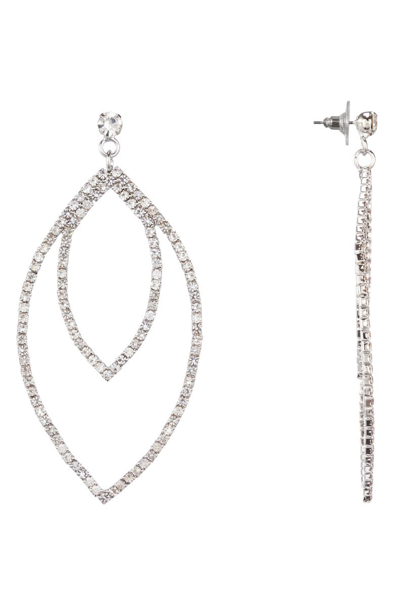 NINA Double Open Marquise Earrings, Main, color, RHODIUM/ WHITE CRYSTAL