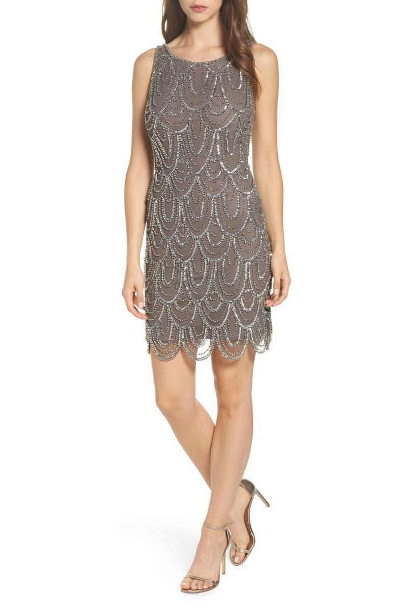 PISARRO NIGHTS Embellished Mesh Sheath Dress, Main, color, 073