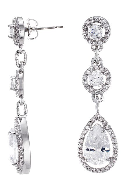 Image of CZ By Kenneth Jay Lane Triple Post CZ Round Earrings