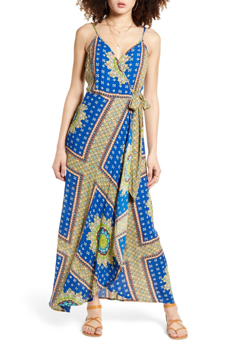 BAND OF GYPSIES Vivian Maxi Wrap Dress, Main, color, ROYAL/ BEIGE