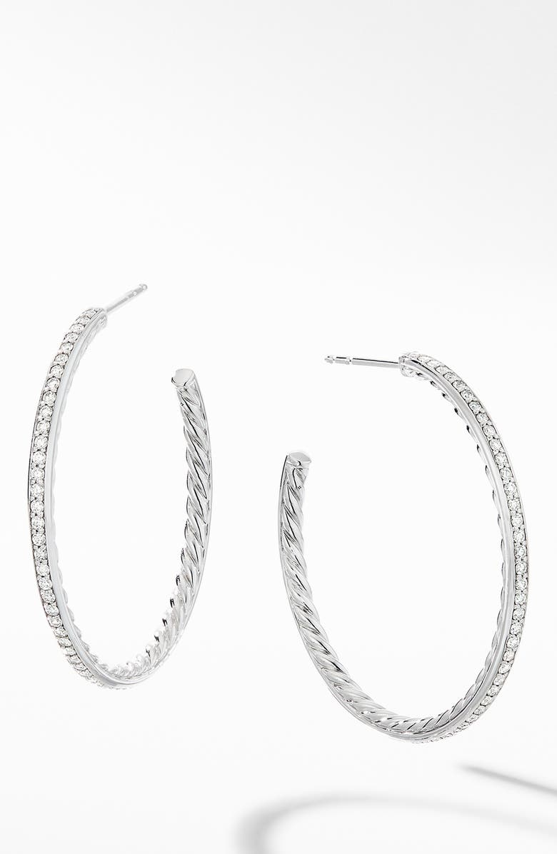 DAVID YURMAN Medium Hoop Earrings with Pavé Diamonds, Main, color, DIAMOND