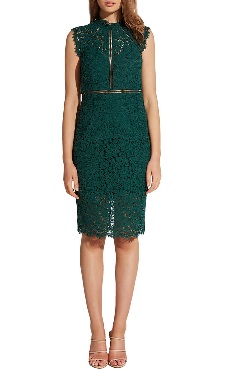 BARDOT Lace Sheath Dress, Main, color, HUNTER GREEN