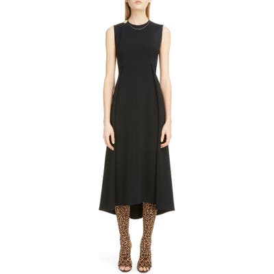 Victoria Beckham Chain Detail Pleated Cady Midi Dress, US / 16 UK - Black