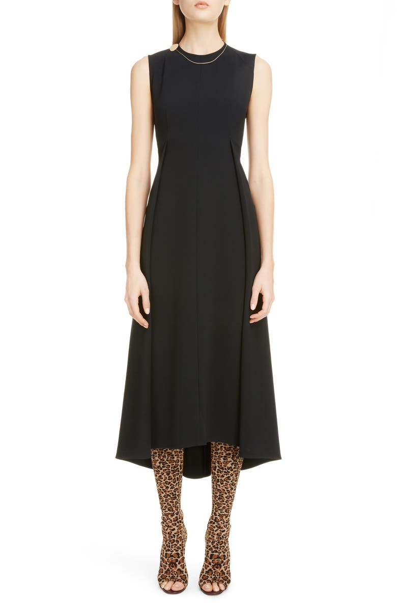 VICTORIA BECKHAM Chain Detail Pleated Cady Midi Dress, Main, color, 001