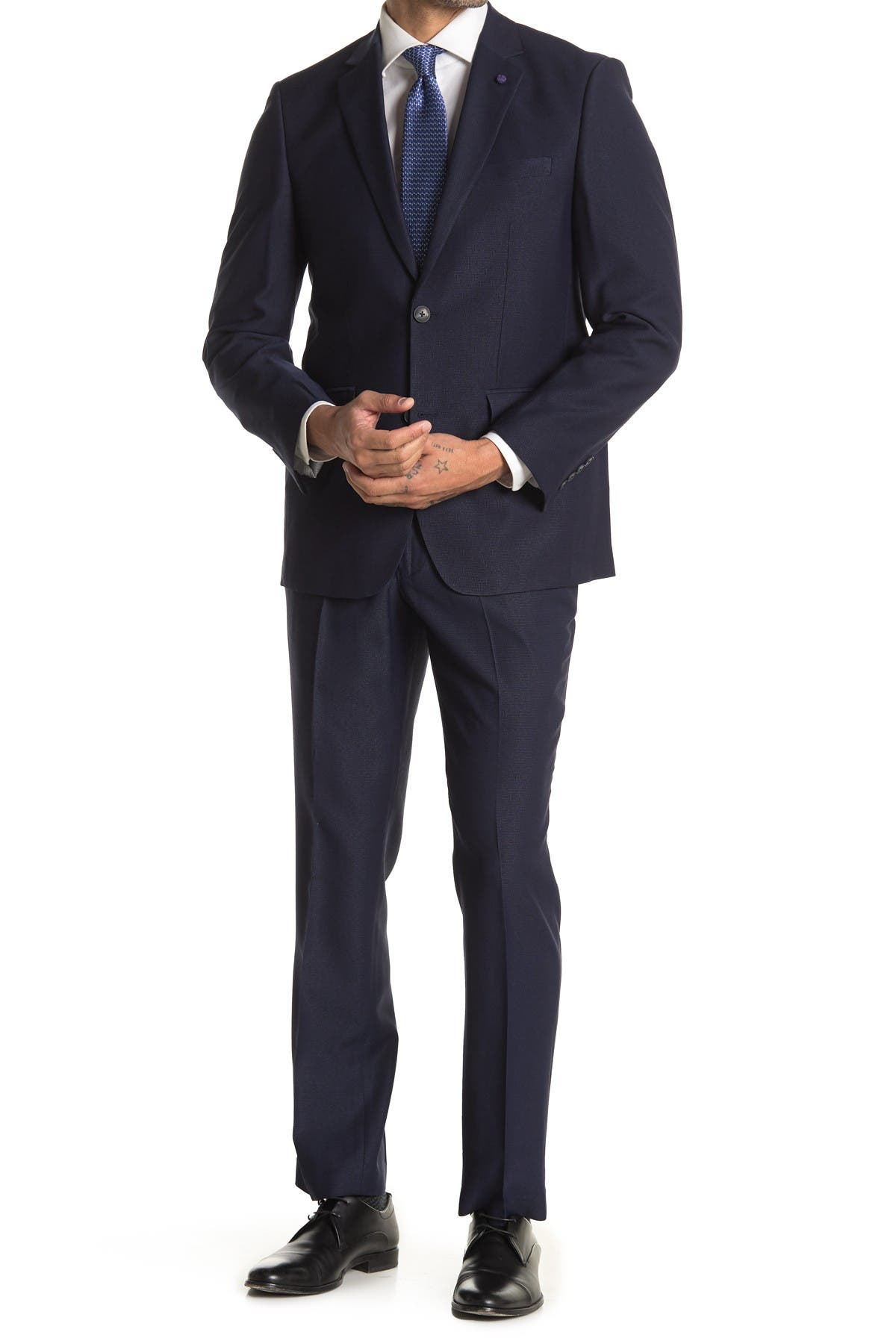 Image of Perry Ellis Navy Dobby Two Button Notch Lapel Slim Fit Suit