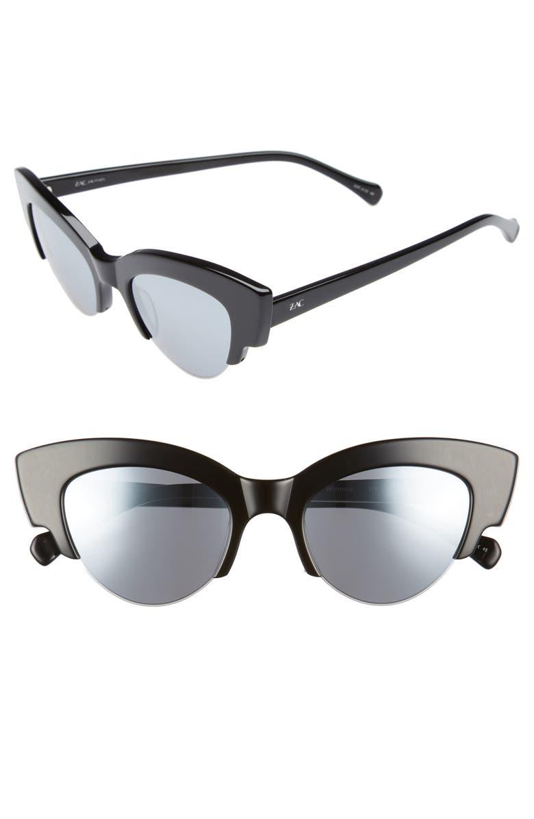 ZAC ZAC POSEN Winona Cat Eye Sunglasses, Main, color, BLACK/ SILVER