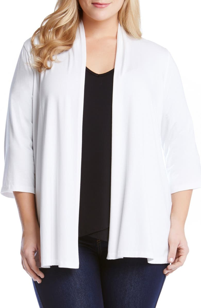 KAREN KANE 'Molly' Open Jersey Cardigan, Main, color, OFF WHITE