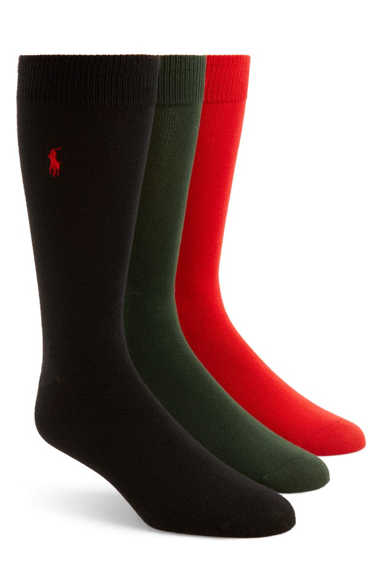 POLO RALPH LAUREN Assorted 3-Pack Supersoft Socks, Main, color, 003