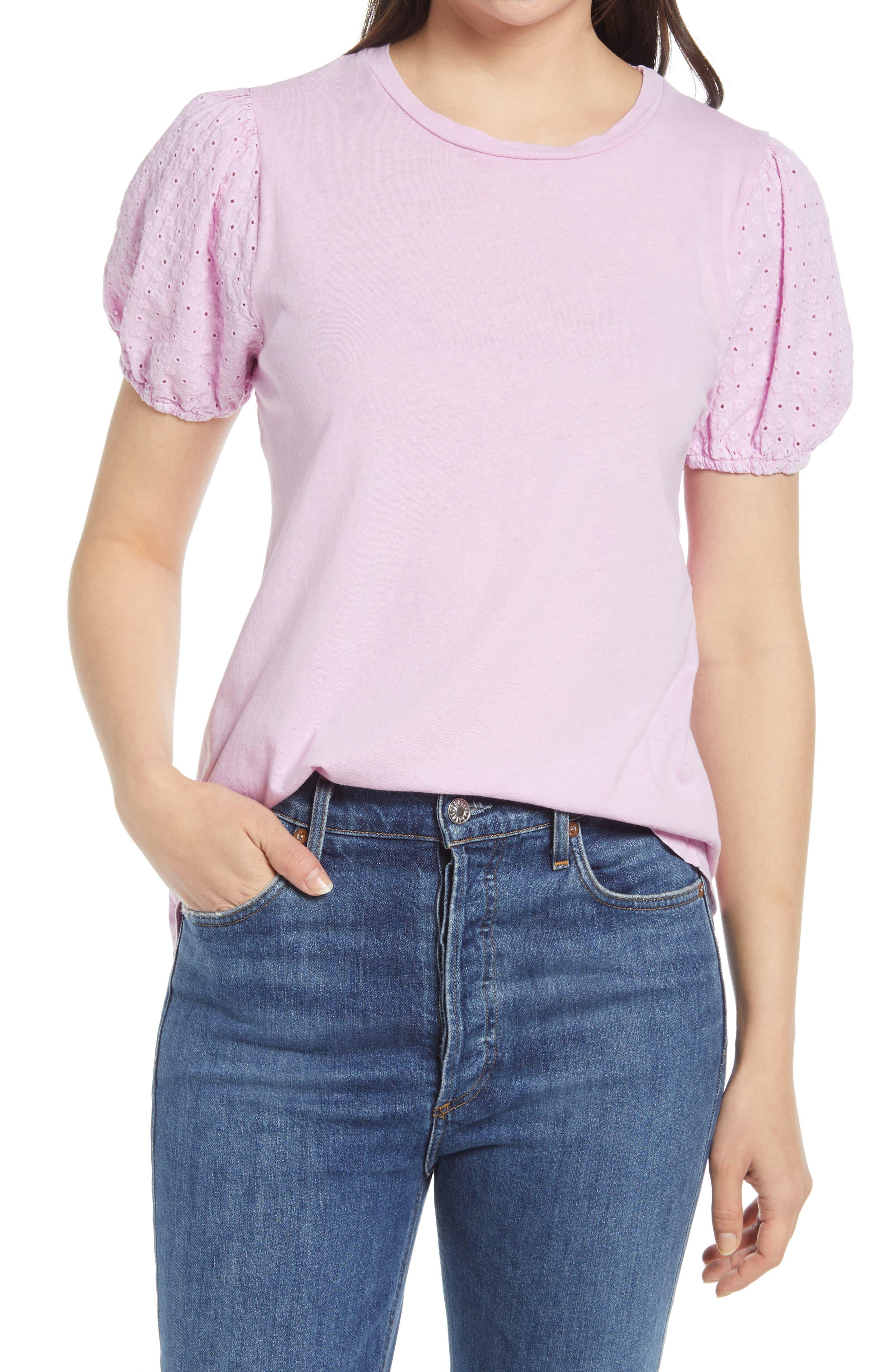 Eyelet Sleeve T-Shirt
