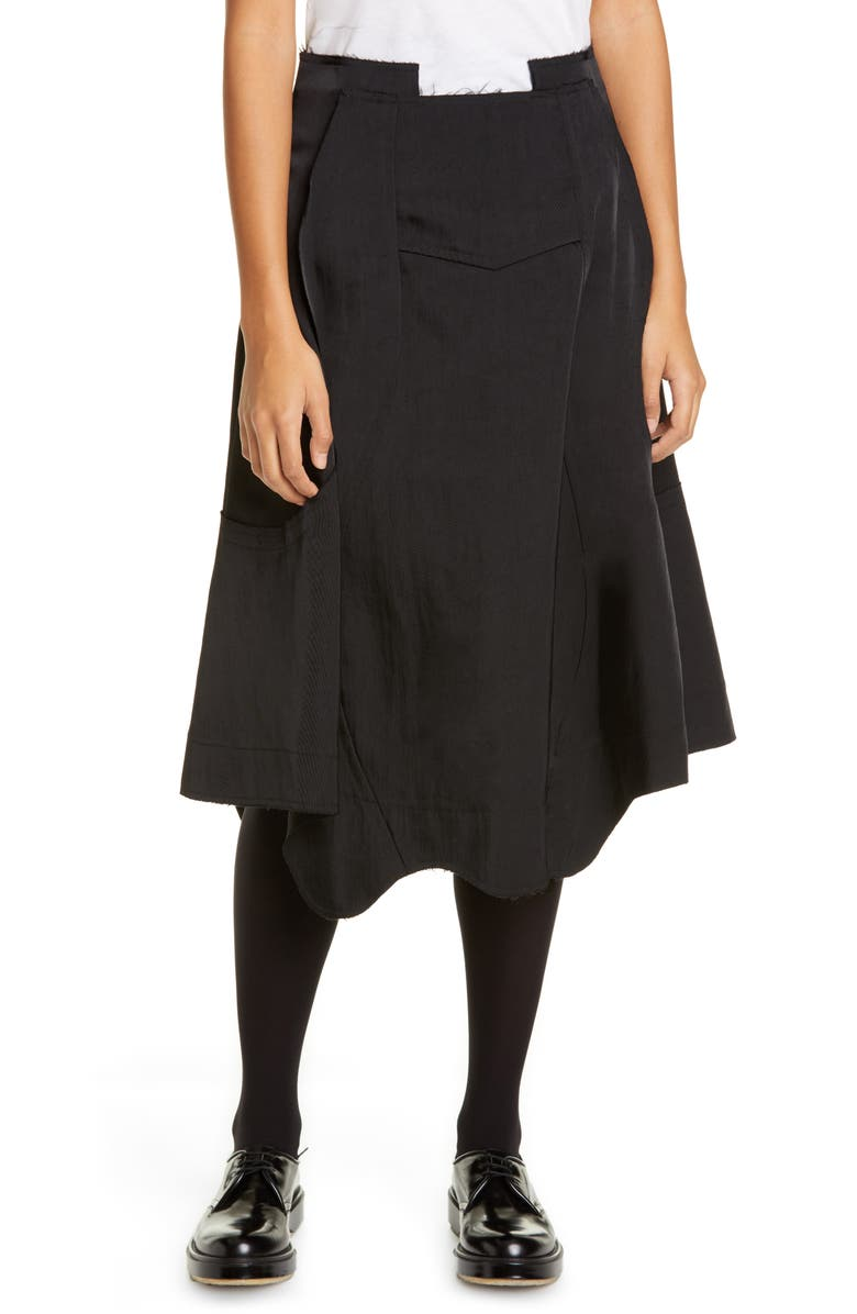 COMME DES GARÇONS Seam Detail Nylon Twill Midi Skirt, Main, color, BLACK