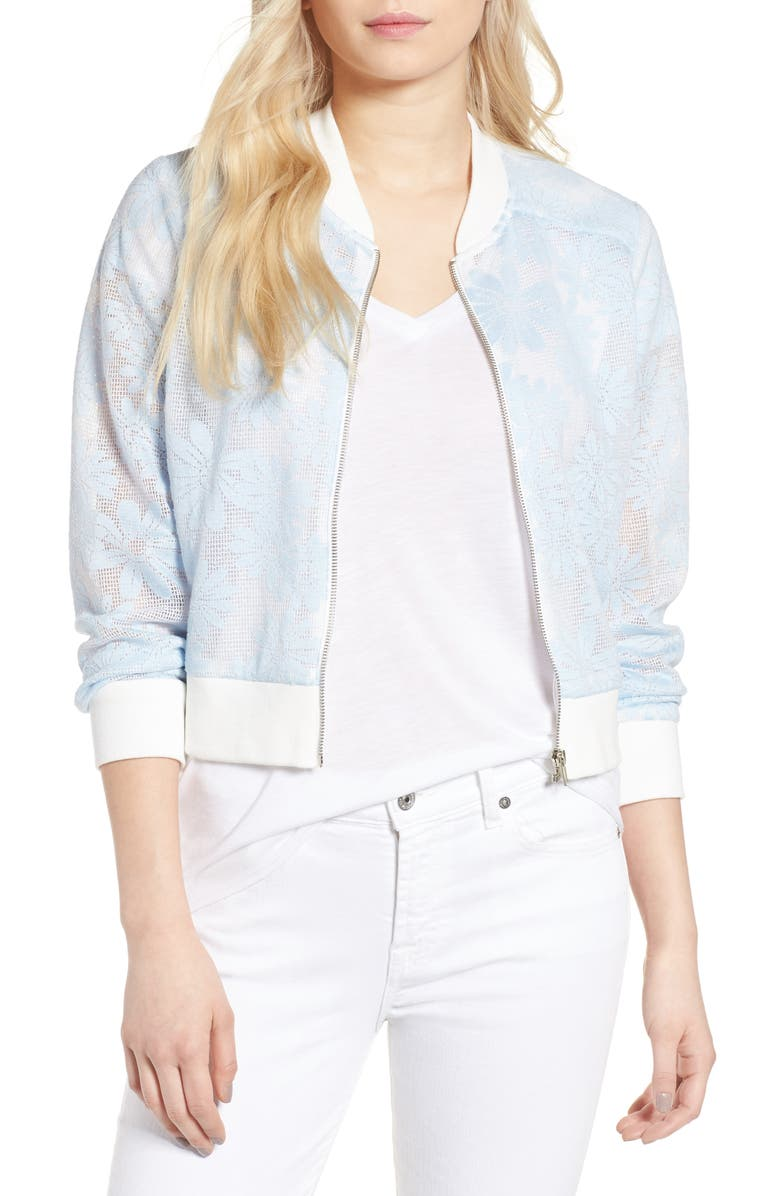 CUPCAKES AND CASHMERE Audrie Grid Mesh Bomber Jacket, Main, color, 438