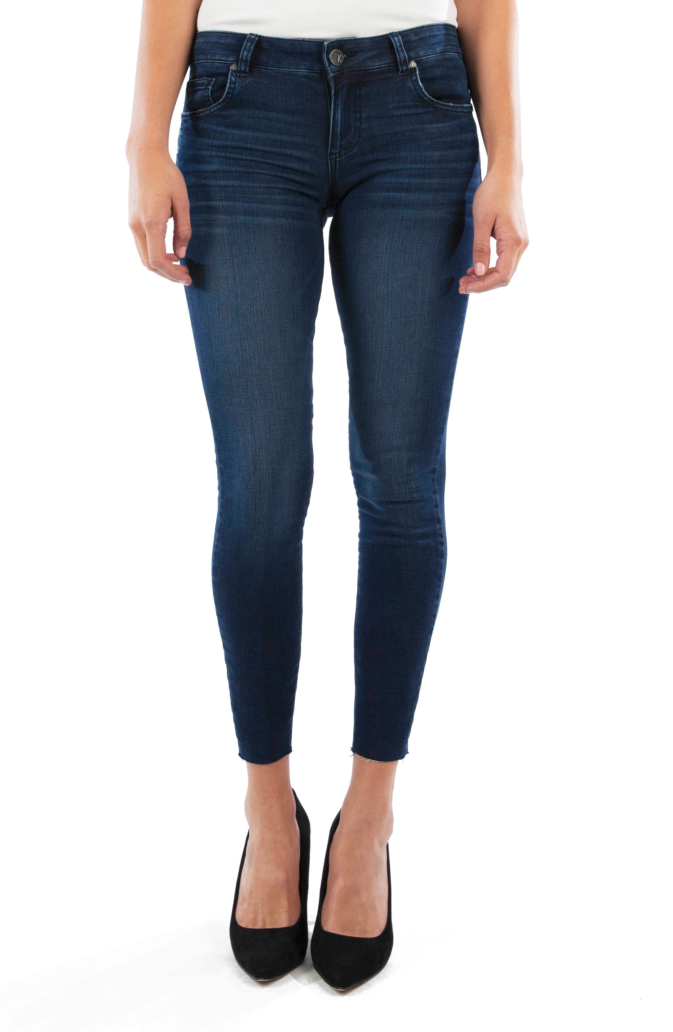 KUT from the Kloth Connie High Waist Raw Hem Ankle Skinny Jeans (Seed)