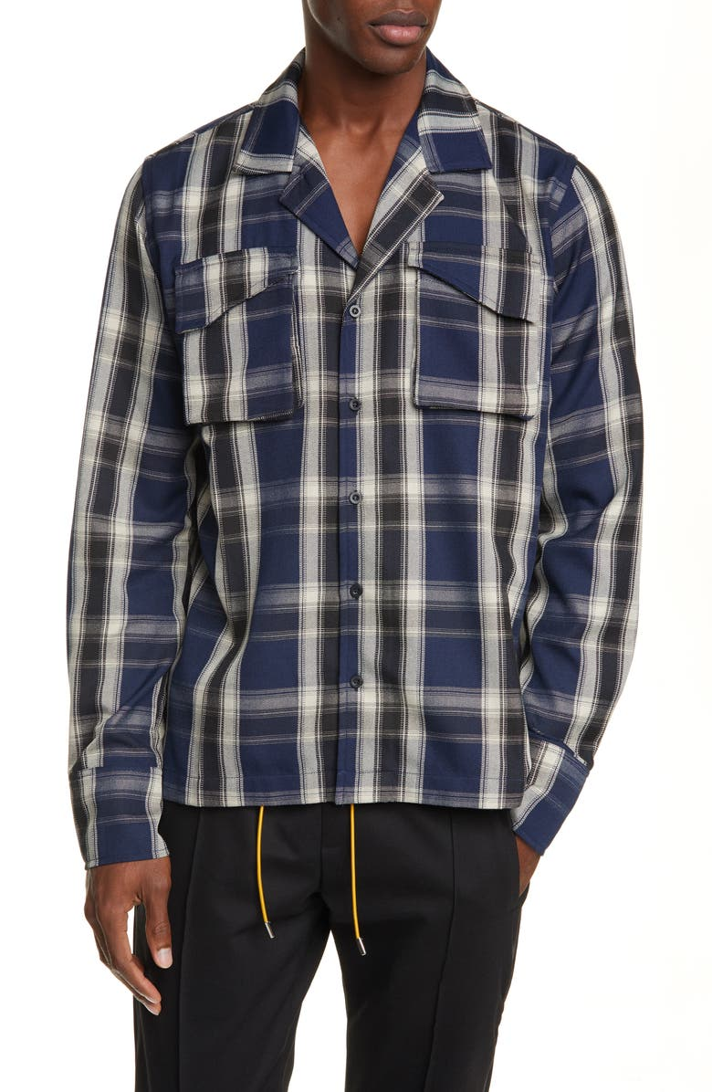 RHUDE Plaid Button-Up Twill Overshirt, Main, color, BLUE/BLACK