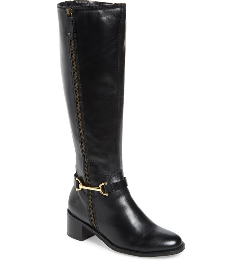 CARVELA COMFORT Waffy Knee High Riding Boot, Main, color, BLACK LEATHER