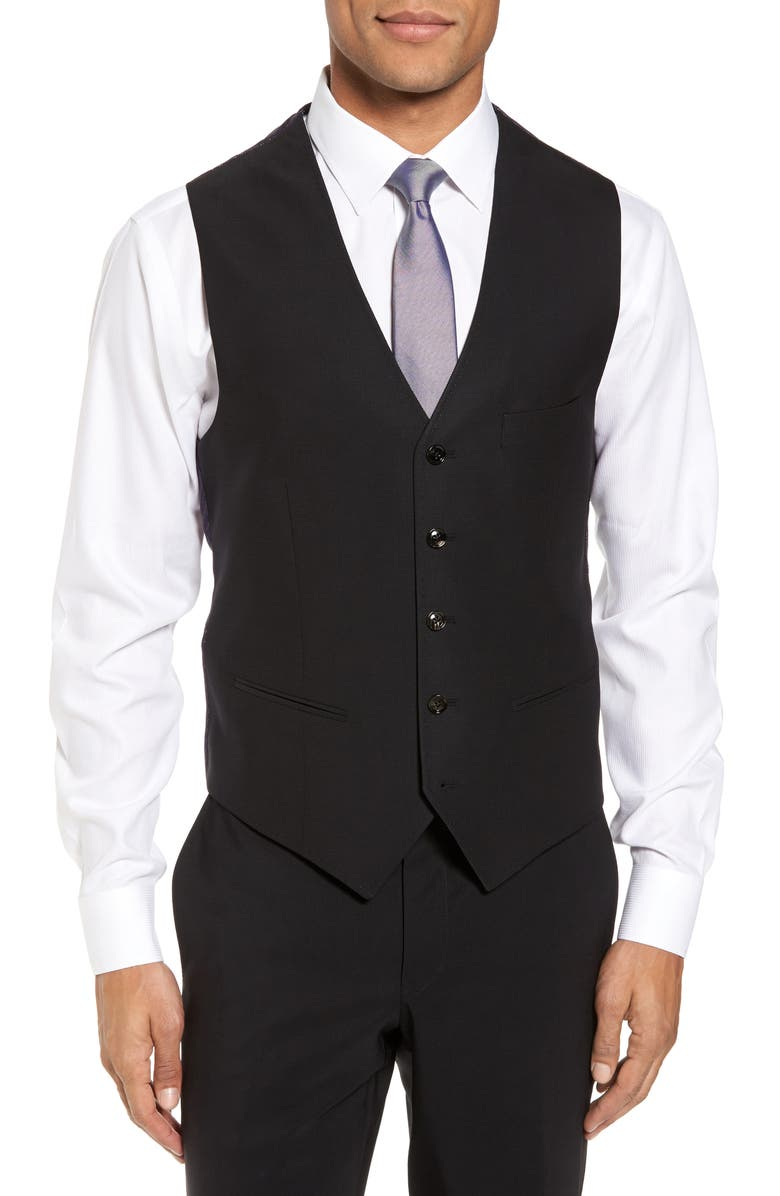 TED BAKER LONDON Slim Fit Solid Wool Vest, Main, color, BLACK