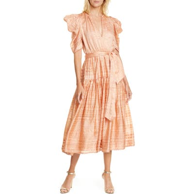 Ulla Johnson Eudora Textured Midi Dress, Pink