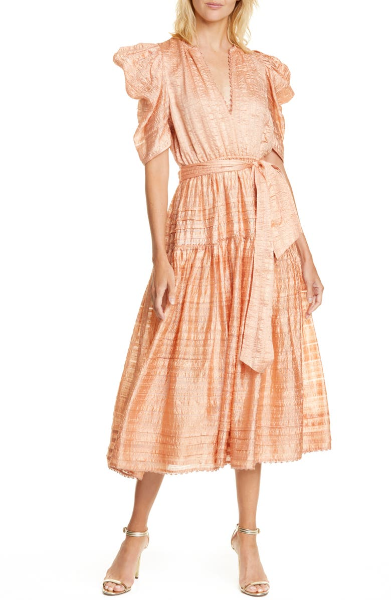 ULLA JOHNSON Eudora Textured Midi Dress, Main, color, ROSE