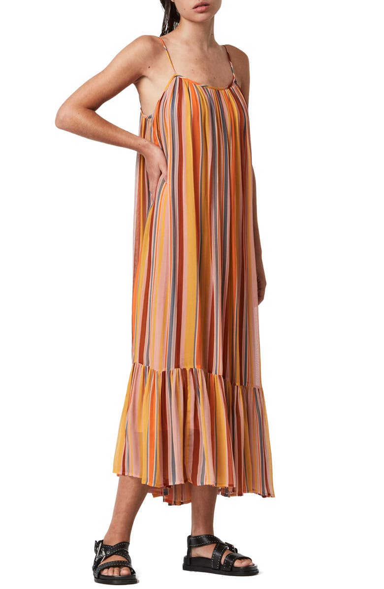 ALLSAINTS Paola Stripe Sleeveless Dress, Main, color, ORANGE/ PINK