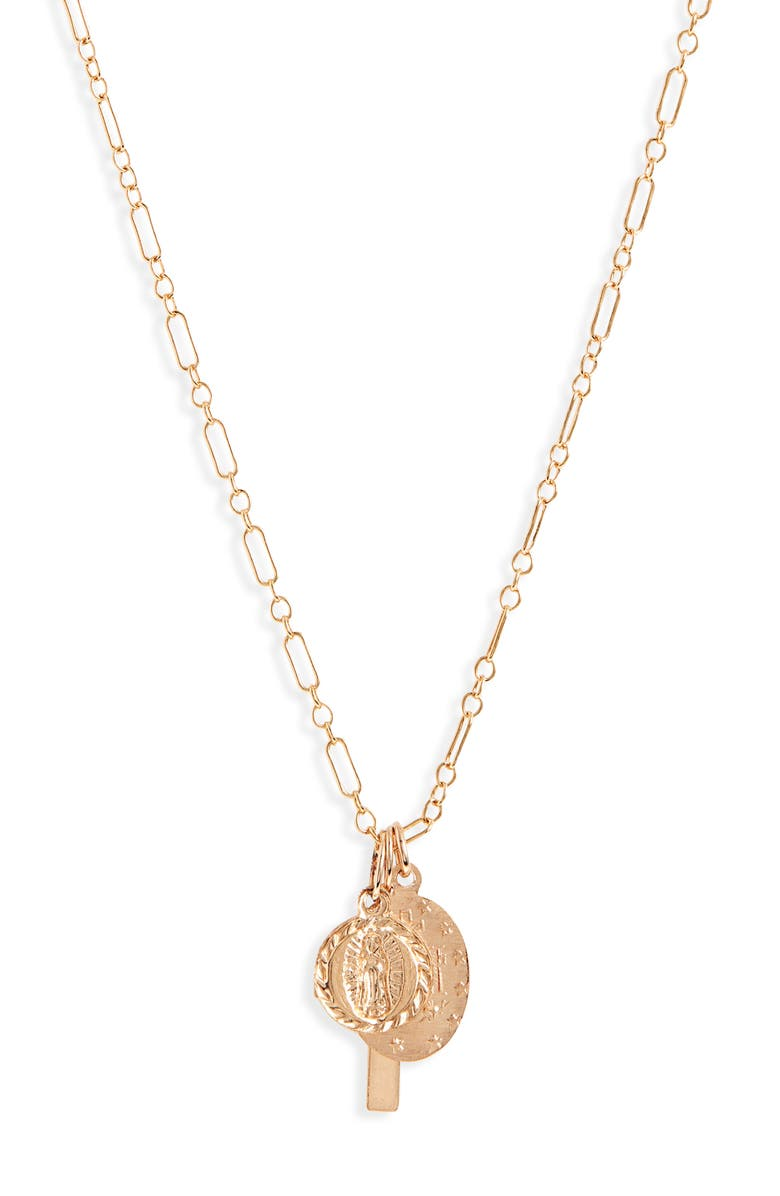 ALL THE WIRE Mary and Me Pendant Necklace, Main, color, GOLD