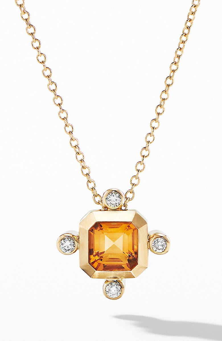 DAVID YURMAN Novella Pendant Necklace in 18K Yellow Gold with Diamonds, Main, color, GOLD/ MADEIRA CITRINE