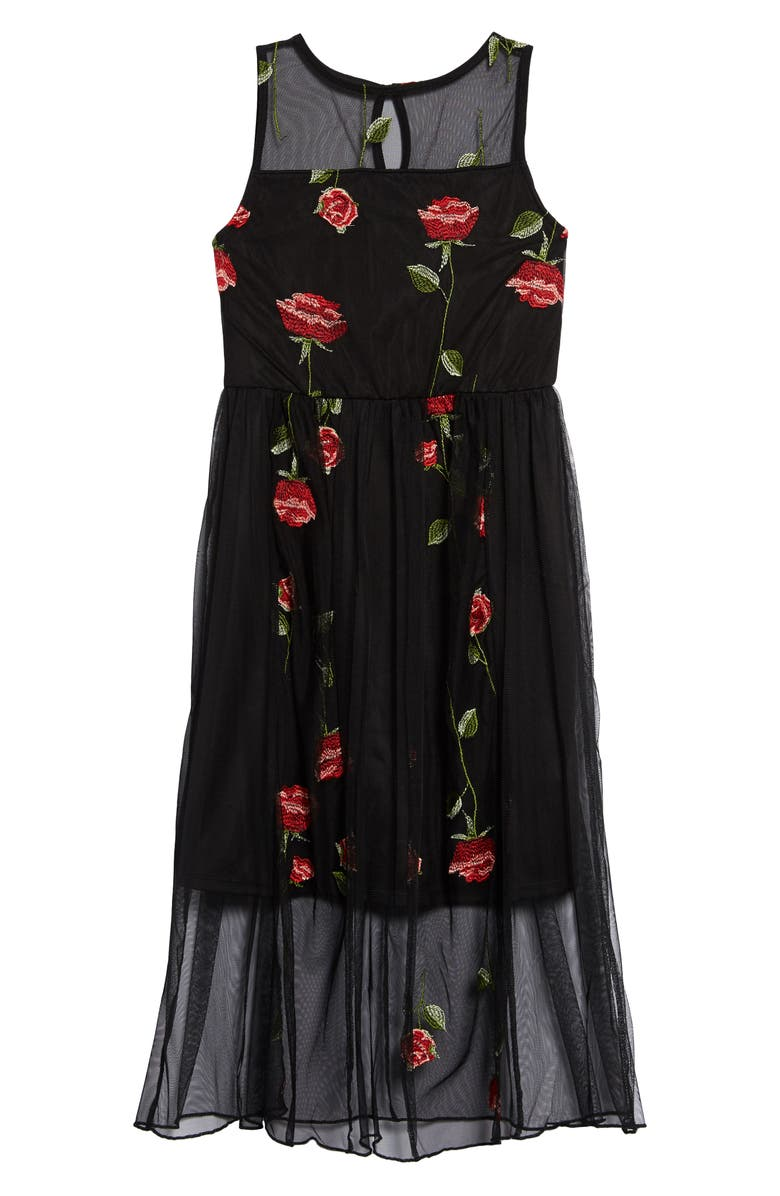 TRIXXI Embroidered Mesh Midi Dress, Main, color, BLACK