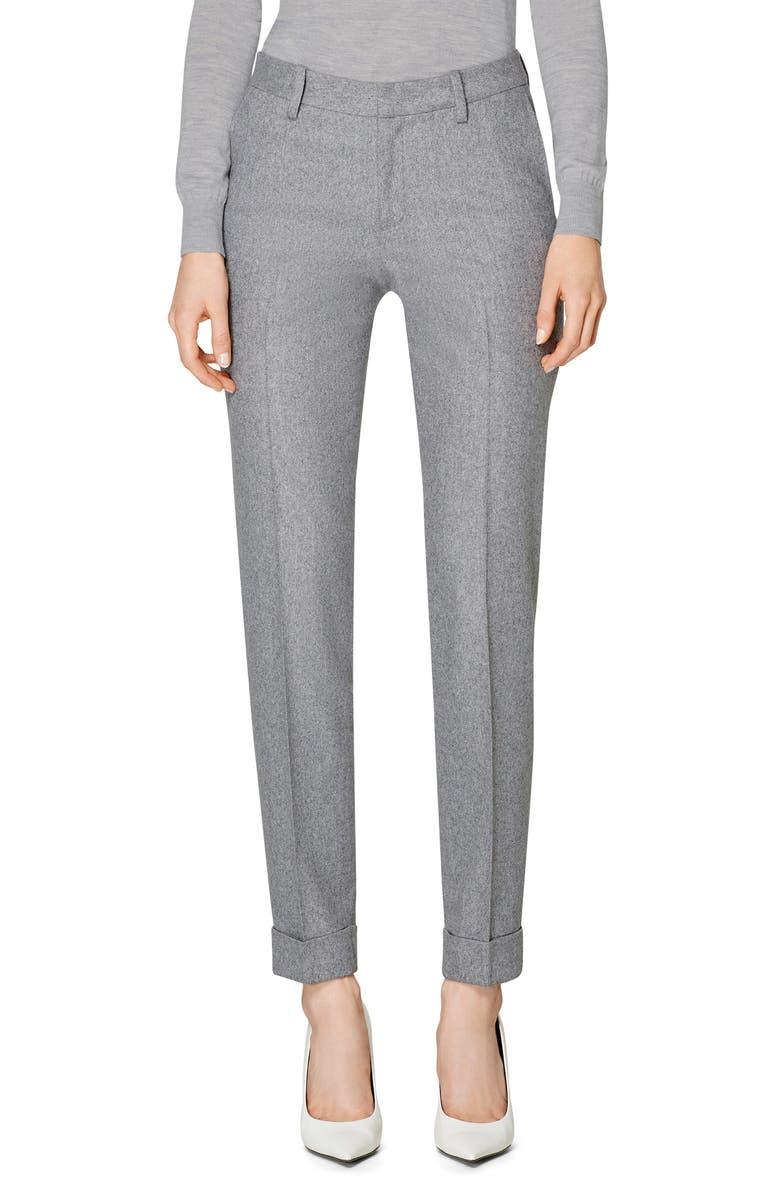 SUISTUDIO Robin Cuff Wool Trousers, Main, color, LIGHT GREY