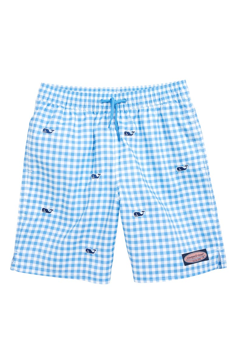 VINEYARD VINES Gingham Whale Embroidered Chappy Swim Trunks, Main, color, CORNFLOWER