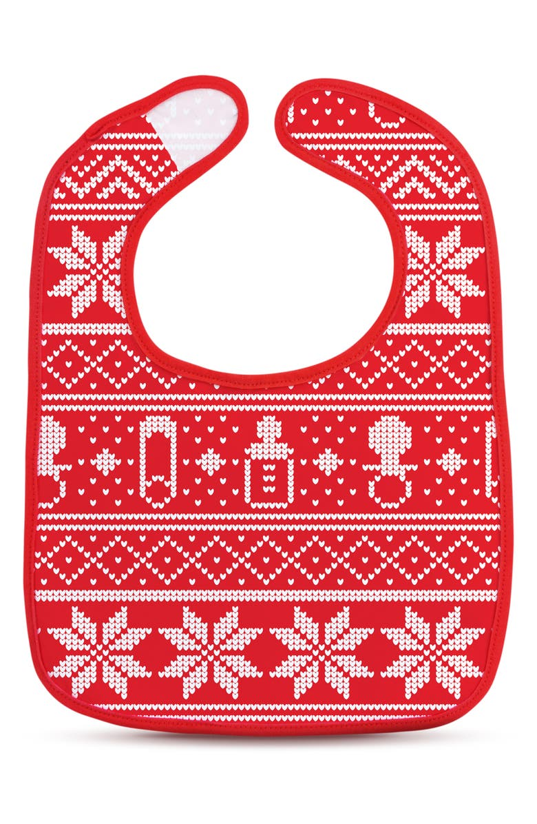 FRED & FRIENDS Dressed to Spill Fair Isle Bib & Teether Set, Main, color, RED/ WHITE