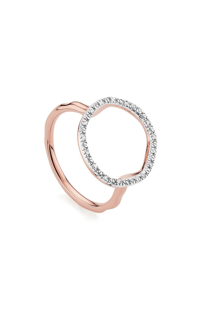 MONICA VINADER Riva Circle Diamond Ring, Main, color, ROSE GOLD/ DIAMOND