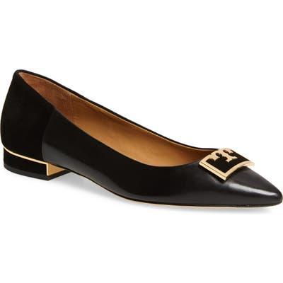 Tory Burch Gigi T Logo Pointy Toe Flat, Black
