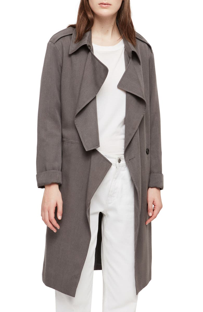 ALLSAINTS Bexley Trench Coat, Main, color, SLATE BLUE