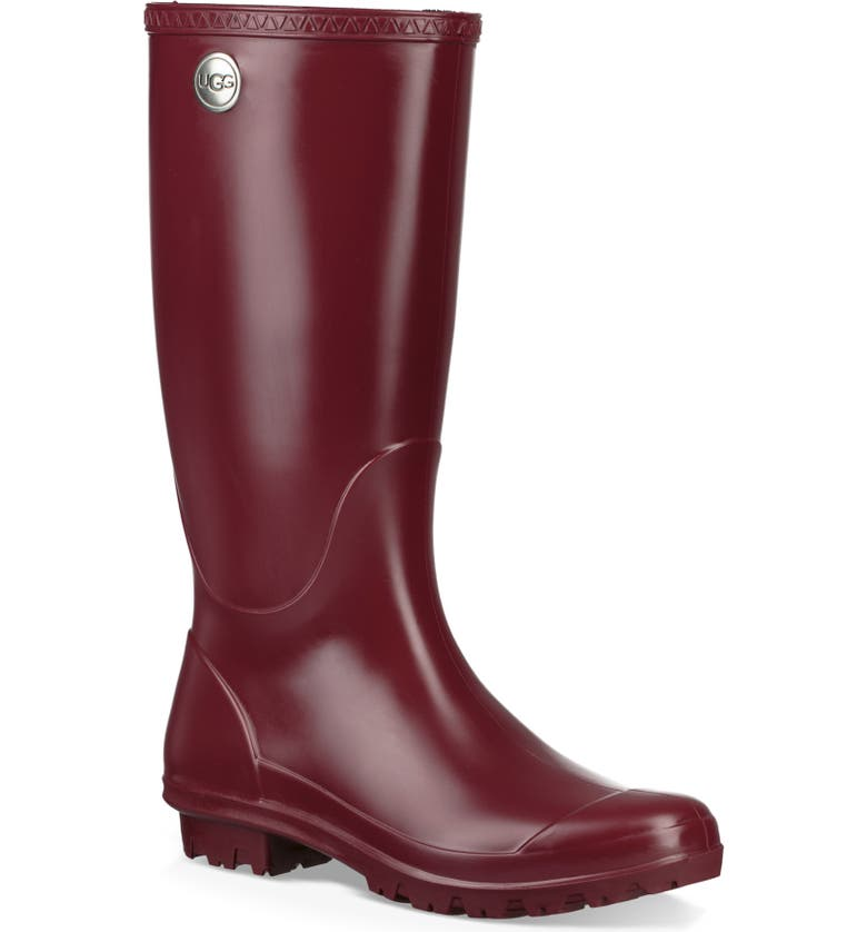 UGG<SUP>®</SUP> Shelby Matte Waterproof Rain Boot, Main, color, GARNET RUBBER