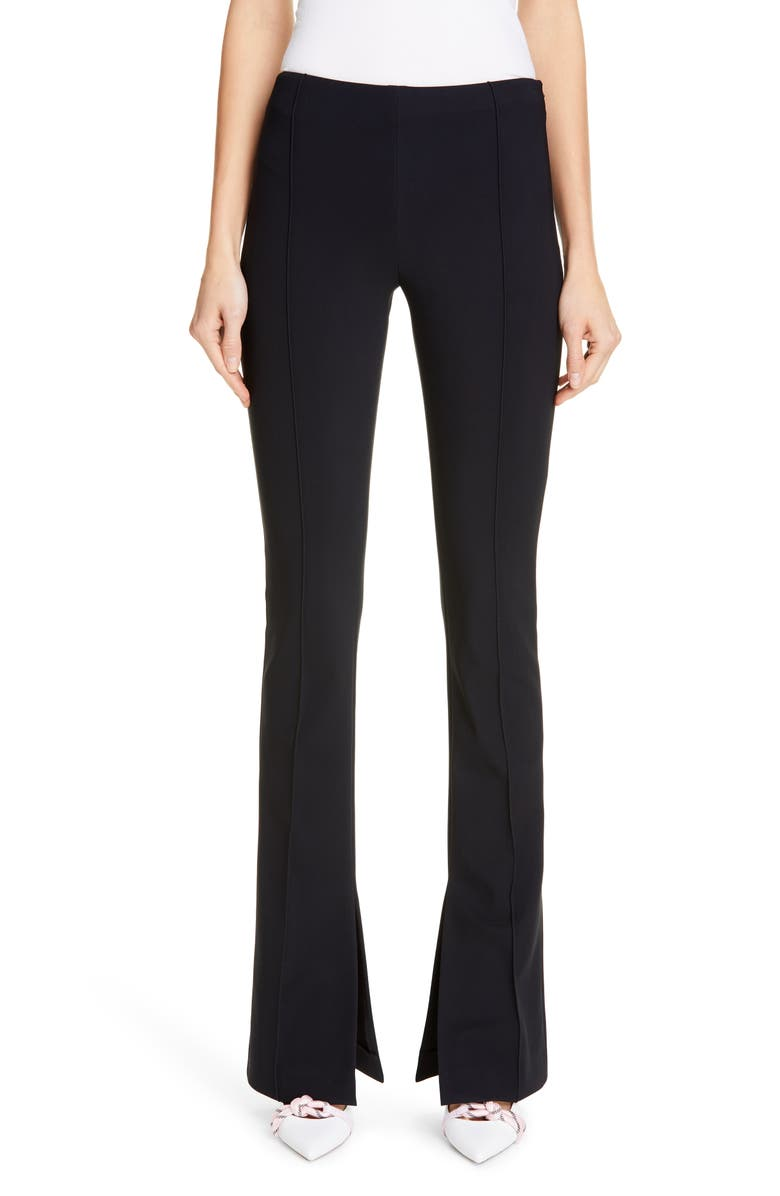 ADAM LIPPES Side Slit Bonded Neoprene Pants, Main, color, BLACK