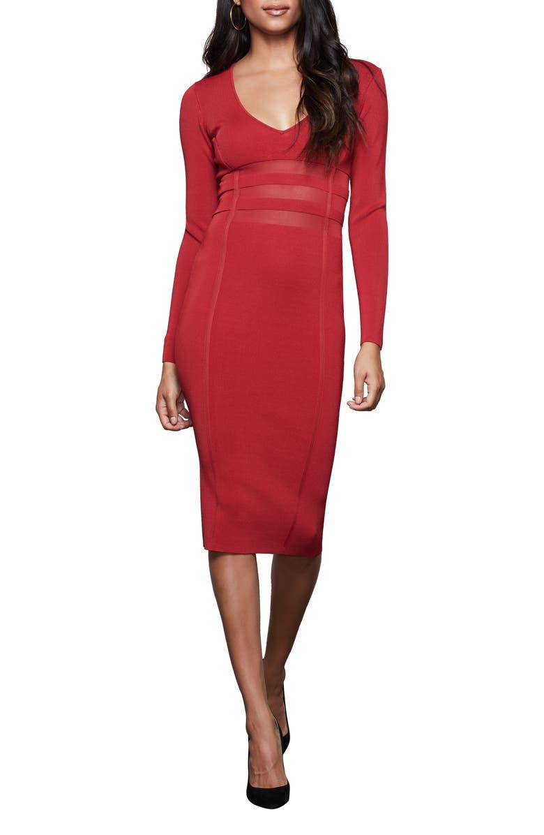 GOOD AMERICAN Deep-V Long Sleeve Body-Con Dress, Main, color, RUBY