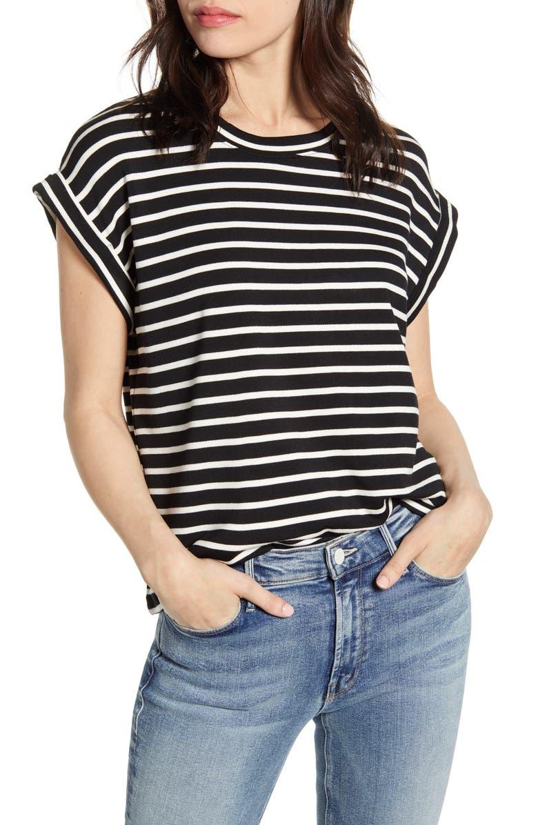 SPLENDID Stripe Short Sleeve Top, Main, color, BLACK WHITE
