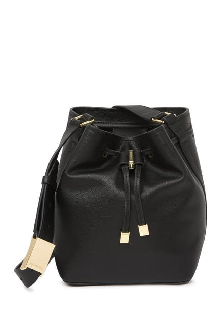 Image of Calvin Klein Avery Pebble Leather Crossbody Bucket Bag