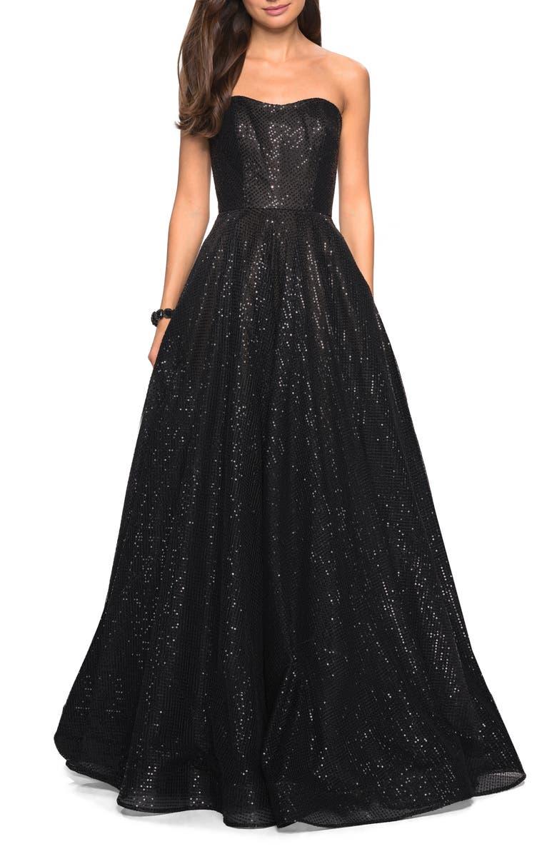 LA FEMME Sequin Strapless Evening Dress, Main, color, BLACK